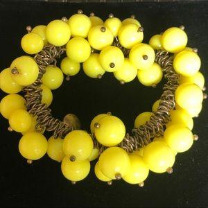 J. Crew Yellow Bubbles stretch bracelet